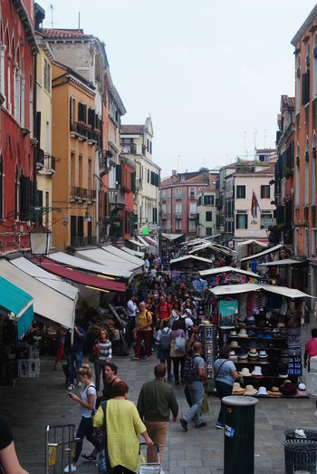 Adult Adults Only Architecture Building Exterior Built Structure City Close-up Crowd Day Gondola - Traditional Boat Large Group Of People Market Market Stall Men Outdoors Pastel People September] Sky Store Street Market Travel Destinations Venice Venice, Italy Connected By Travel