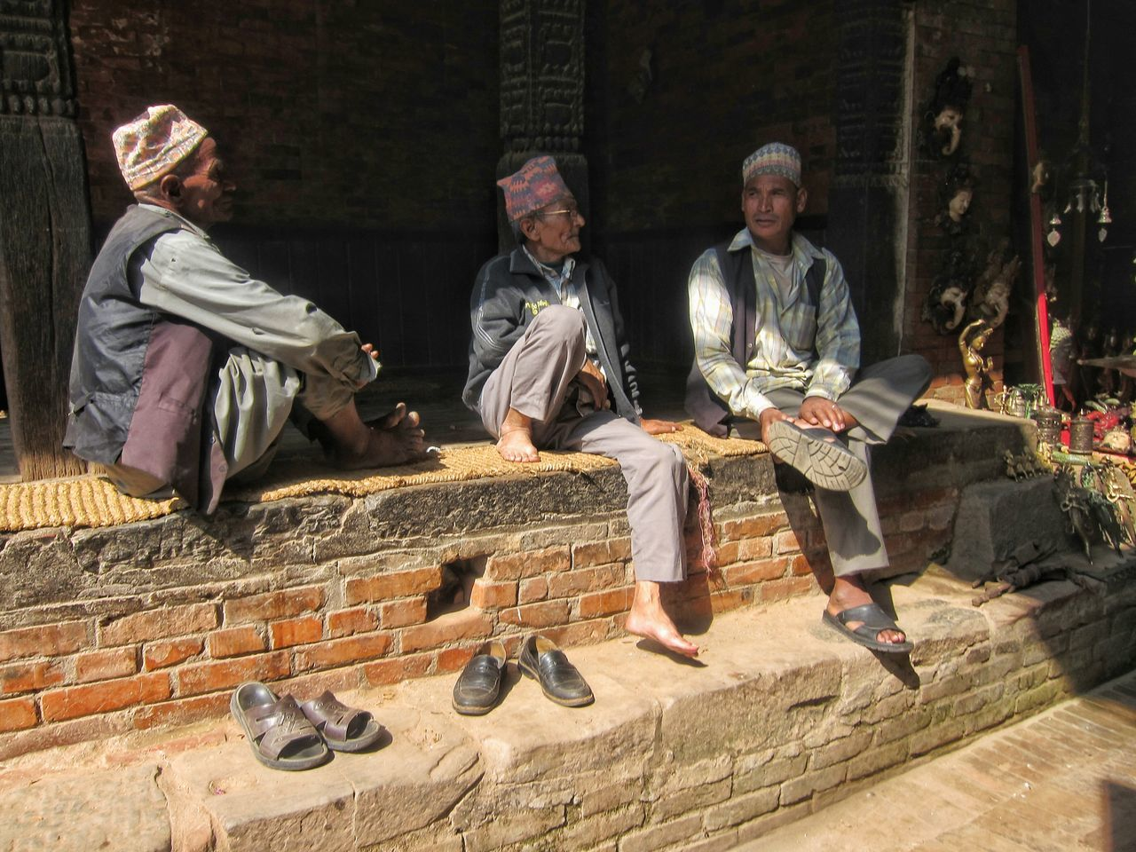 Nepali  Men Newari Chatting Leisure Culture Lifestyle Traditional Clothing Bhaktapur Feel The Journey Rural Scenes Miles Away Original Experiences Kathmandu Nepal People Together People And Places Way Of Life Unesco World Heritage