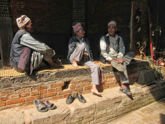 Nepali  Men Newari Sitting Talking Chatting Leisure Lifestyle Traditional Clothing Culture Bhaktapur Feel The Journey Rural Scenes Original Experiences Kathmandu Nepal People Together People And Places