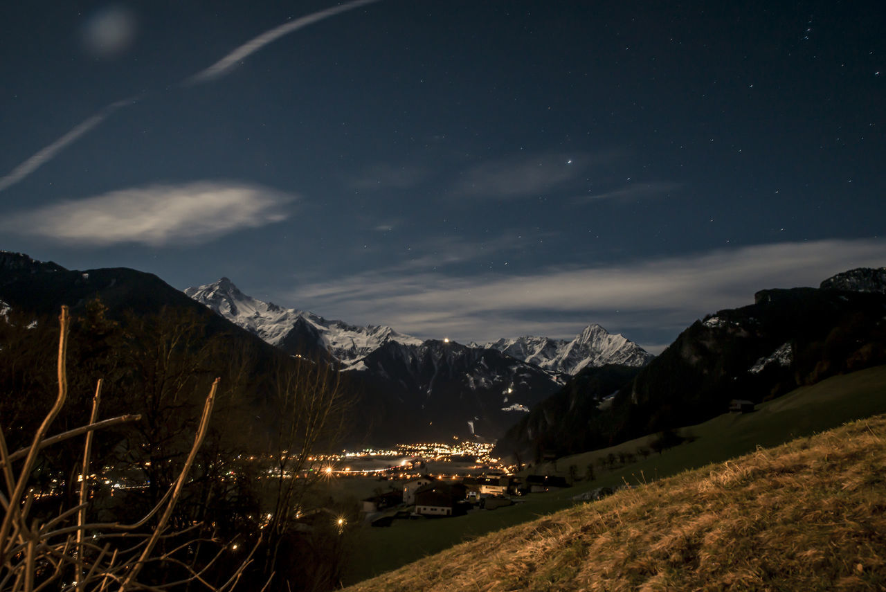 Austria ❤ Blue Hippach Long Exposure Mayrhofen Mountains Night Nightphotography Sky Snow Traveling Valley Water Zillertal Cities At Night Welcome To Black