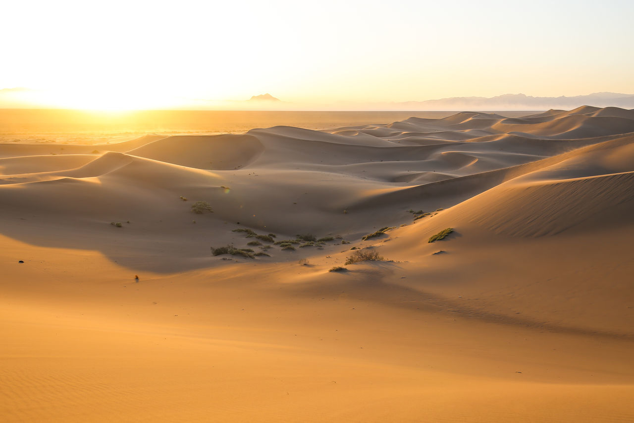 Arid Climate Beauty In Nature Clear Sky Desert Extreme Terrain Famous Place Idyllic Landscape Majestic Nature Non-urban Scene Orange Color Physical Geography Remote Sand Dune Scenics Sky Sunbeam Sunlight Sunset Tourism Tranquil Scene Tranquility Travel Travel Destinations