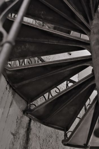 Black And White Close Up Close-up Day Indoors  Iron Stairs Low Angle View No People Spiral Staircase The Way Up