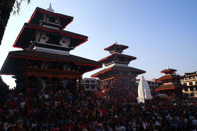 People watching Indra Jatra at Basantapur Durbar Square Architecture Basantapur Durbar Square Community Crowd Cultures History IndraJatra Low Angle View People Watching Place Of Worship Religion Spirituality Temple - Building