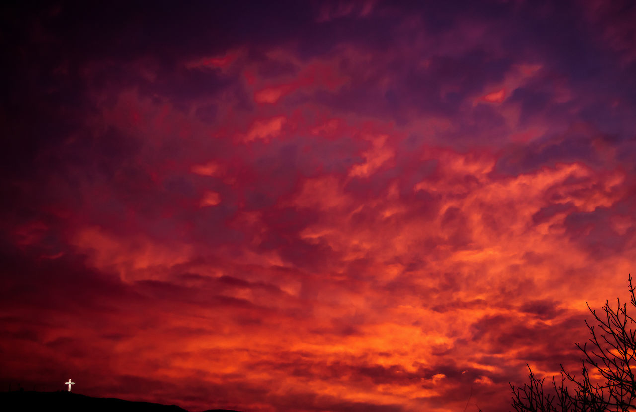 Bloody December sky Backgrounds Clouds Cloudscape Cross Hill Nature Nature Outdoors Red Sky Sun Sunset Tree