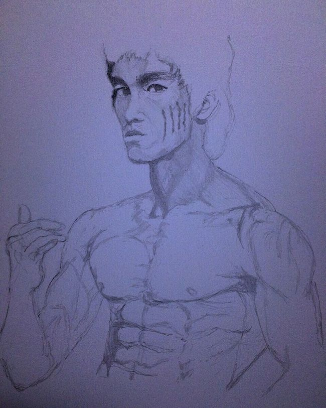 Drawing ArtWork Hello World Art, Drawing, Creativity MyDrawing ブルースリー 李小龙 Bruce Lee Brucelee