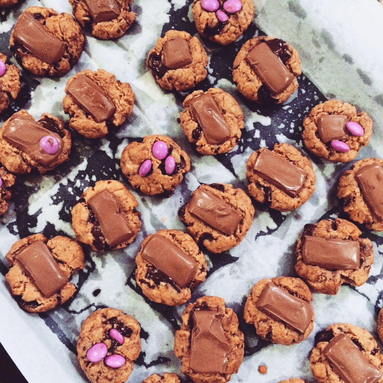 High Angle View Of Chocolate Cookies