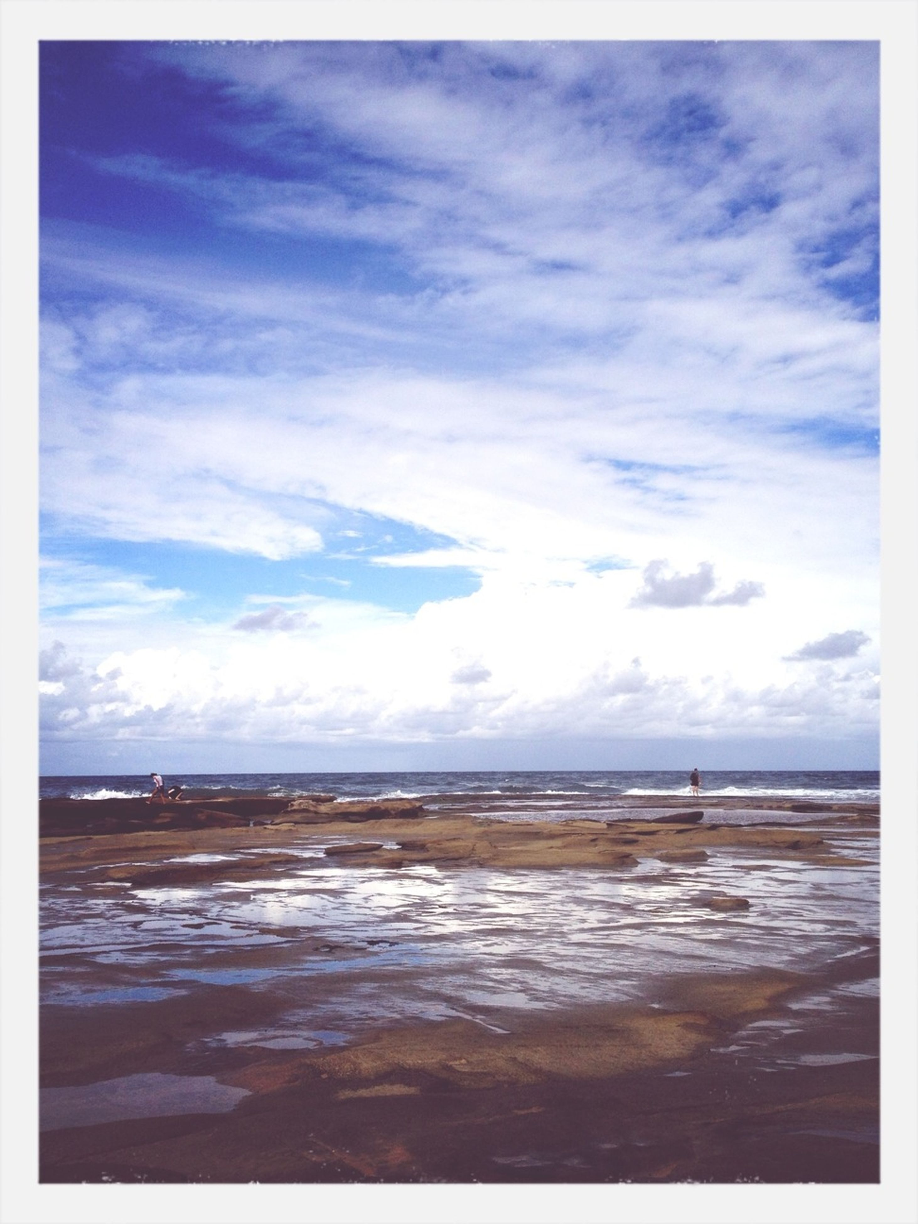 water, sky, sea, tranquil scene, cloud - sky, tranquility, transfer print, scenics, beauty in nature, horizon over water, cloudy, auto post production filter, cloud, beach, nature, blue, idyllic, waterfront, shore, calm