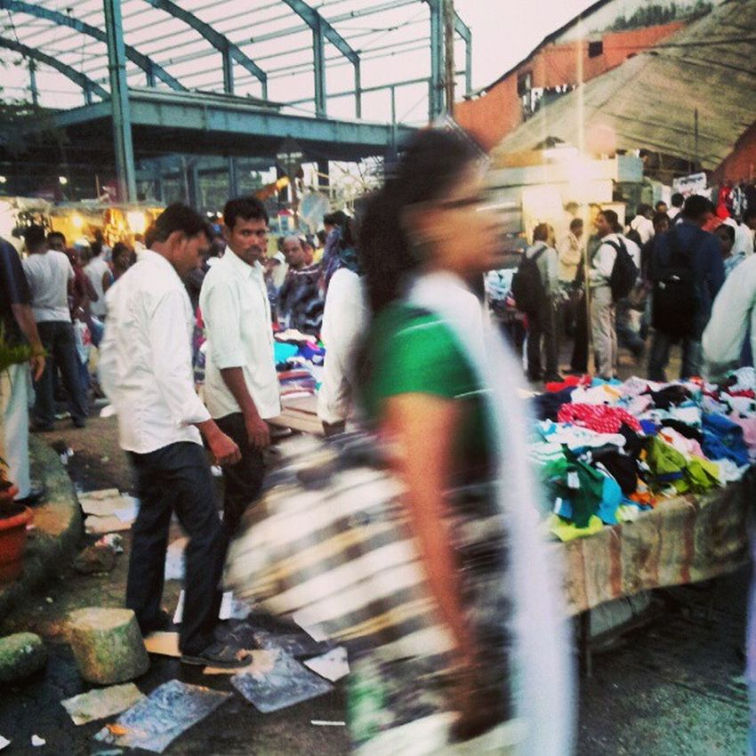 Always in a hurry. That's Bombay for you. Market Busy Street shopping instachill motion clothes abstract photooftheday