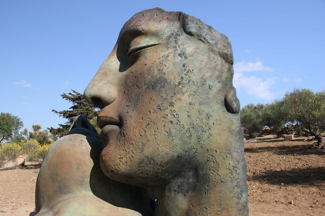 Statue Sculpture Human Representation Art And Craft Memories Stone Material Sky Outdoors Day Blue No People Creativity Siciliy Agrigento