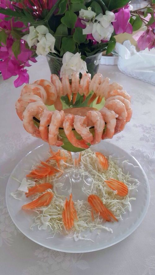 Fresh Water Shrimp Cocktail Ready-to-eat Healthy Eating Bougainvillea Flower