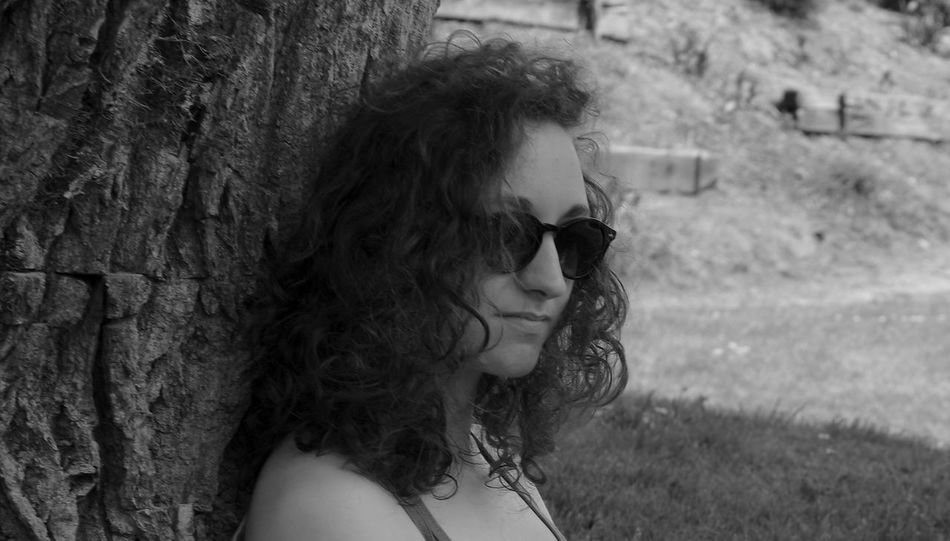Beauty Black And White Black Hair Blackandwhite Casual Clothing Close-up Contemplation Day Focus On Foreground Headshot Leisure Activity Lifestyles Long Hair Nature Outdoors Portrait Summer Summertime Sun Tree Young Women Naturel Light Portrait