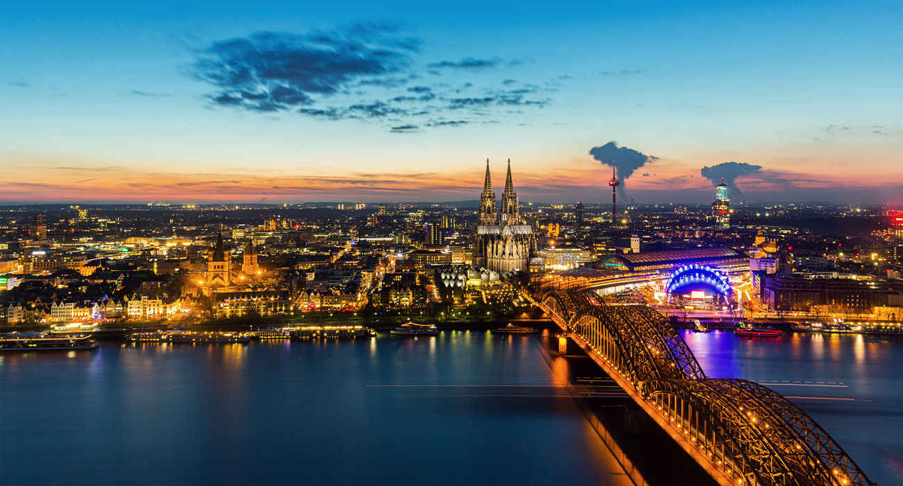 Cologne Skyline with Cathedral at sunset Architecture Arial View Bridge - Man Made Structure Cathedral Cityscape Cloud - Sky Cologne Cologne Cathedral Illuminated Mood Night No People Outdoors Rhine River River Sky Skyline Skyscraper Sunlight Sunset Travel Destinations Urban Skyline Water