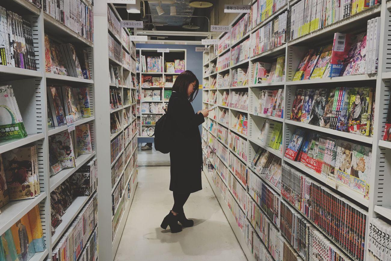 One Person Shelf Hanging Out Hello World Bookshop Manga Relaxing Japan Indoors