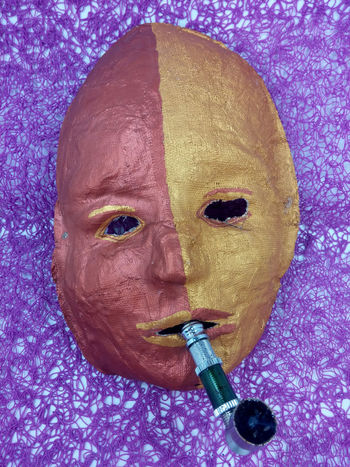 Adult Adults Only Archival Bizarre Art Clown Crack-pipe Dependence Drug Dependent Drug-addicted Drugpipe Grass Hopelessness Human Body Part Kiffen Marijuana Mask - Disguise Mask_collection Maske  One Person People Portrait Psychological Psychological Therapy Surrealist Art Surrealistic