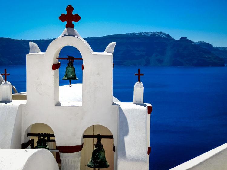 Architecture Blue Church Clear Sky Clock Tower GREECE ♥♥ Religion Santorini, Greece Vacation