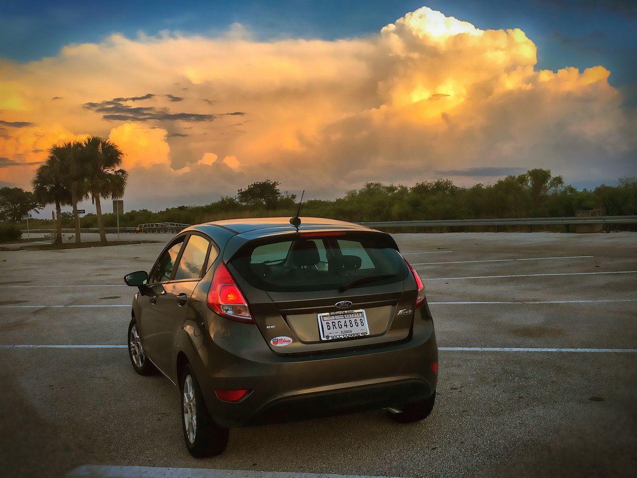 Small Car Cloudscape Golden Hour Alligator Alley
