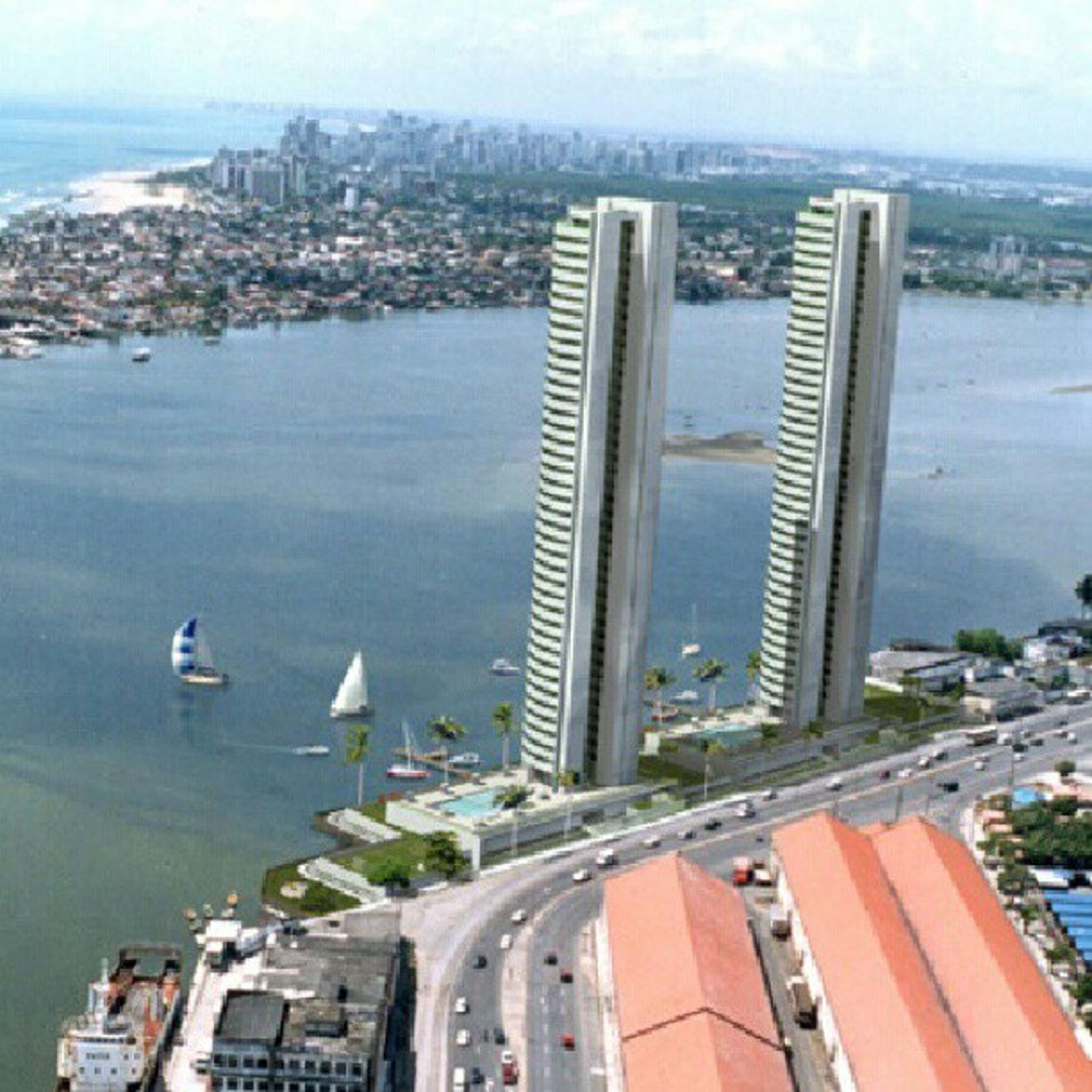 architecture, building exterior, built structure, city, water, cityscape, sea, river, high angle view, flying, transportation, bird, harbor, sky, day, skyscraper, residential district, residential building, nautical vessel, residential structure