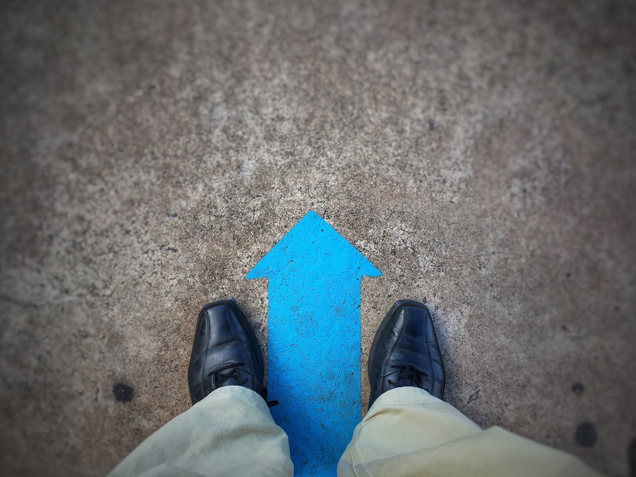 Personal Perspective One Person Standing Real People Shoe Outdoors Going Forward  Direction Arrow Blue Motivation Start Beginning