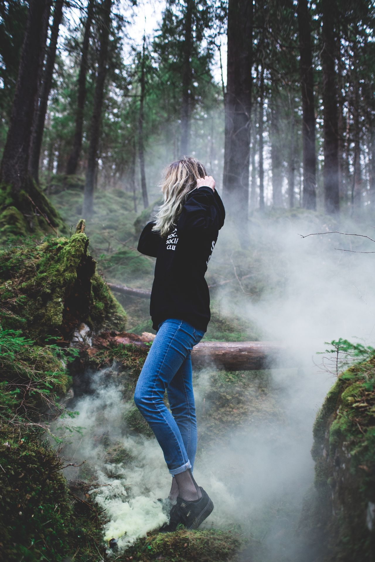 Clouds Forest Full Length One Person Smoke - Physical Structure Nature Hiking Tree Rear View Day People Outdoors Real People Stream - Flowing Water