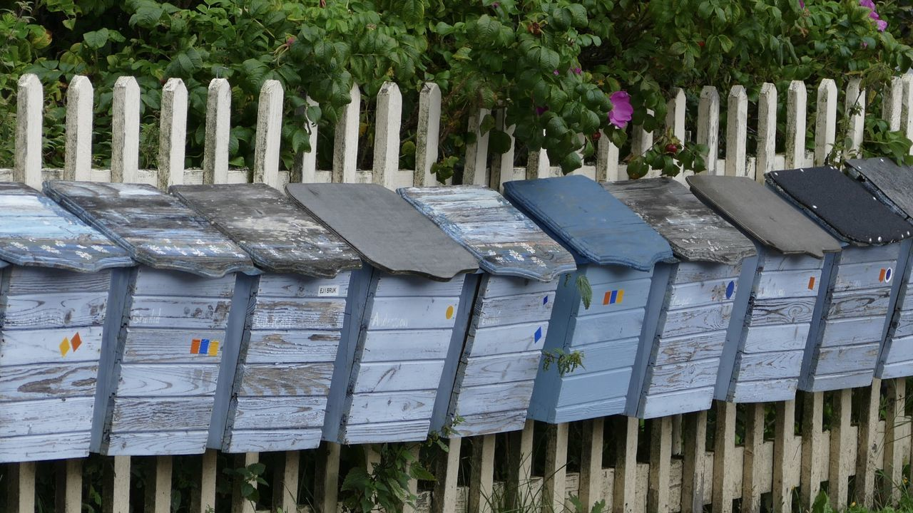 Blue Briefkasten Fence Fencepost Finland Horizontal Letterbox Loveletters Mailbox No People Outdoors Postbox Scandinavia SnailMail Village Life åland  Lumix Fz1000