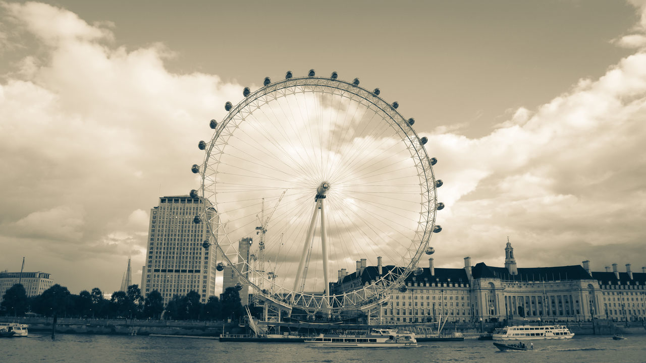 Famous London Eye Architecture Black And White British City Cityscape Cloudy England Famous Places Ferris Wheel London London Eye No People Nobody Outdoors River Riverside Sky Thames Travel Travel Destinations Uk United Kingdom Water