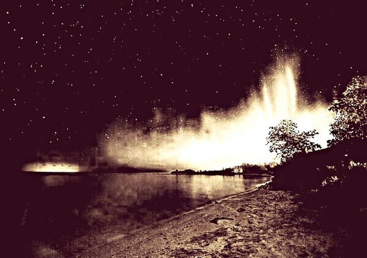 The northern lights in black & Norhtern Lights Night Water No People Illuminated Outdoors Nature Tree Beauty In Nature Sky Astronomy Star - Space Balck&White Blackandwhite Lightshow Lightd
