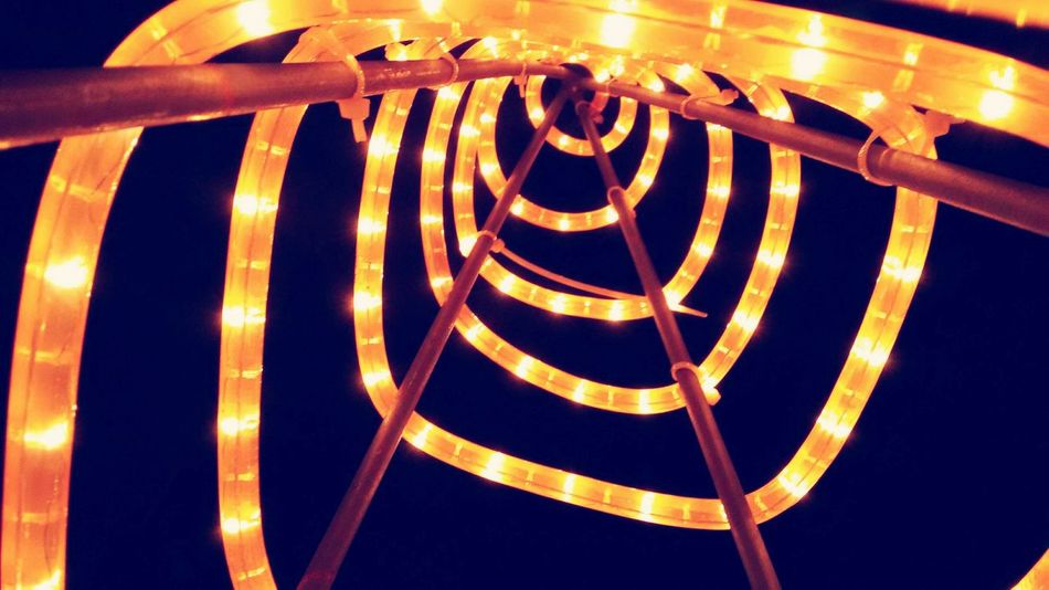 Illuminated Cristhmas Natal Cristhmastime Led Lights  Spiral Gold Colored Night No People First Eyeem Photo The City Light