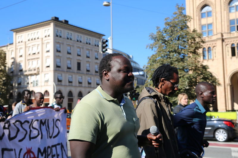 Refugees protesting for right to stay. Africa City City Life City Street Help Kein Mensch Ist Illegal Large Group Of People Racism Refugees