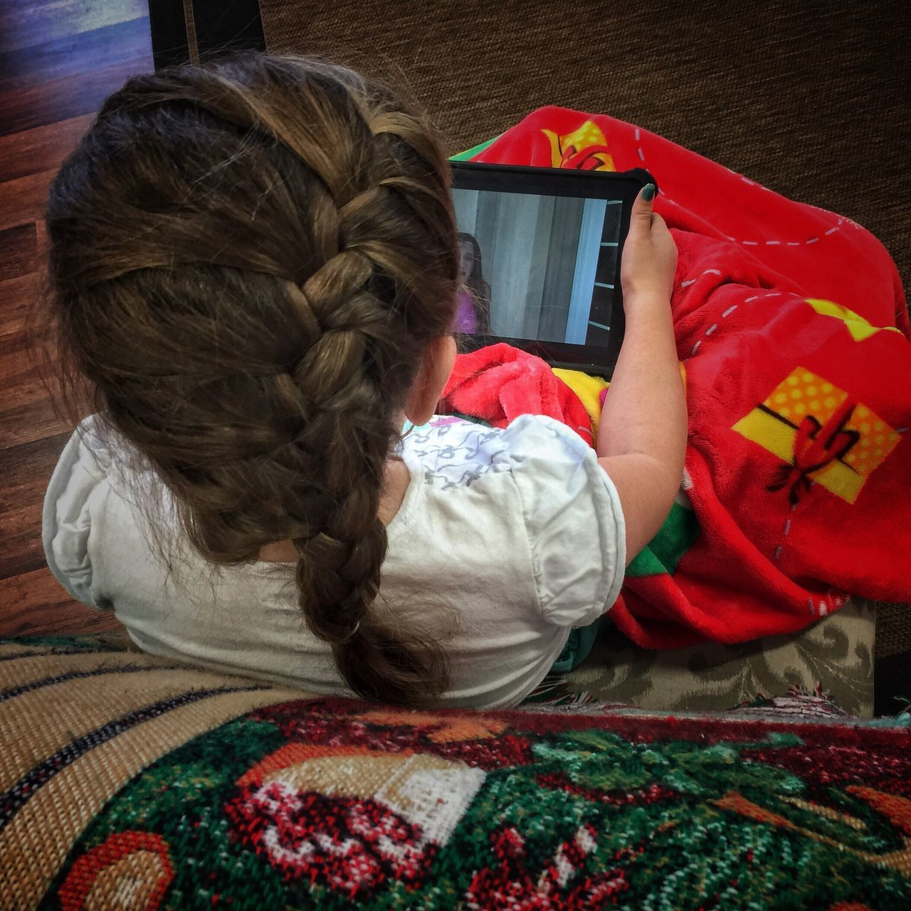 Quiet time Childhood Quiet Time Self Entertainment Young Girl Watching Tv Sitting Alone Child And Technology Sitting Quietly Engrossed