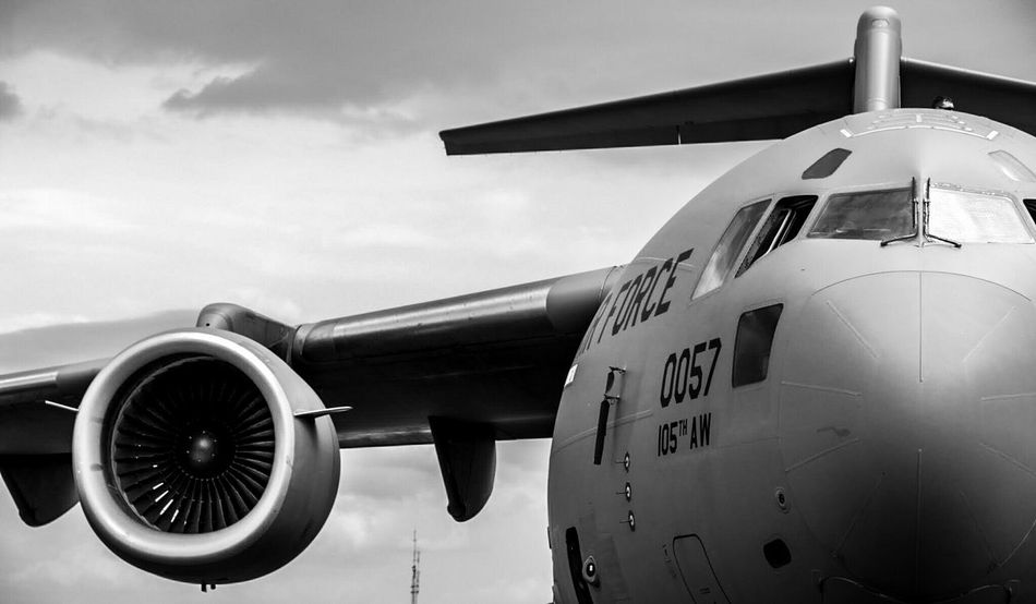 Air Force Cargo Plane at 2015 NY Air Show Black And White