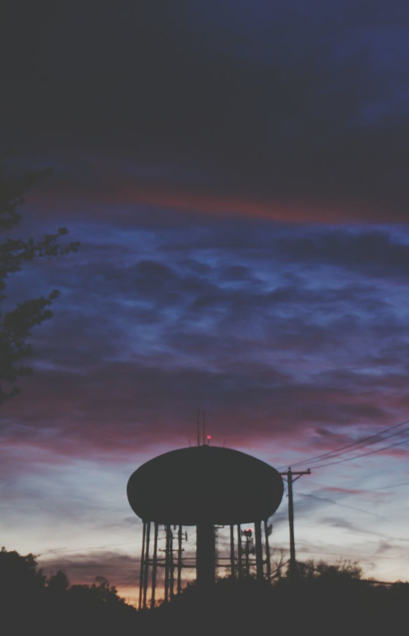 sunset, silhouette, water tower - storage tank, sky, nature, low angle view, dusk, storage tank, cloud - sky, communication, built structure, architecture, outdoors, water tank, no people, technology, beauty in nature, tree, day