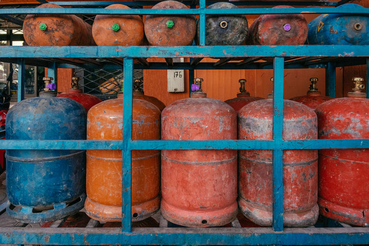 Blue Colors Gas Bottles Gas Cylinder Lorry Red Still Life StillLifePhotography Street