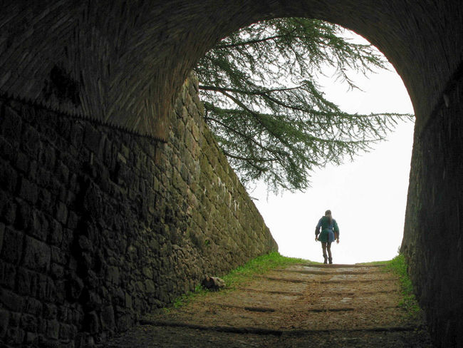 Castle Walls Escape From Reality Fairytale  Man Walking From Behind Out Of The Darkness Rear View Solitude The Way Forward The Way Out