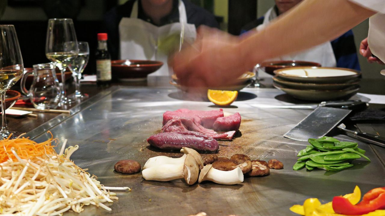 Cooking Dinner Directly Above Eat Fresh Fish Food Food And Drink Fresh Freshness Hands At Work Indoors  Japan Japanese Culture Japanese Food Lifestyle Live Cooking Meat Mushrooms Noodles Restaurant ShareTheMeal Tepanyaki Urban Lifestyle Vegetables Photography In Motion