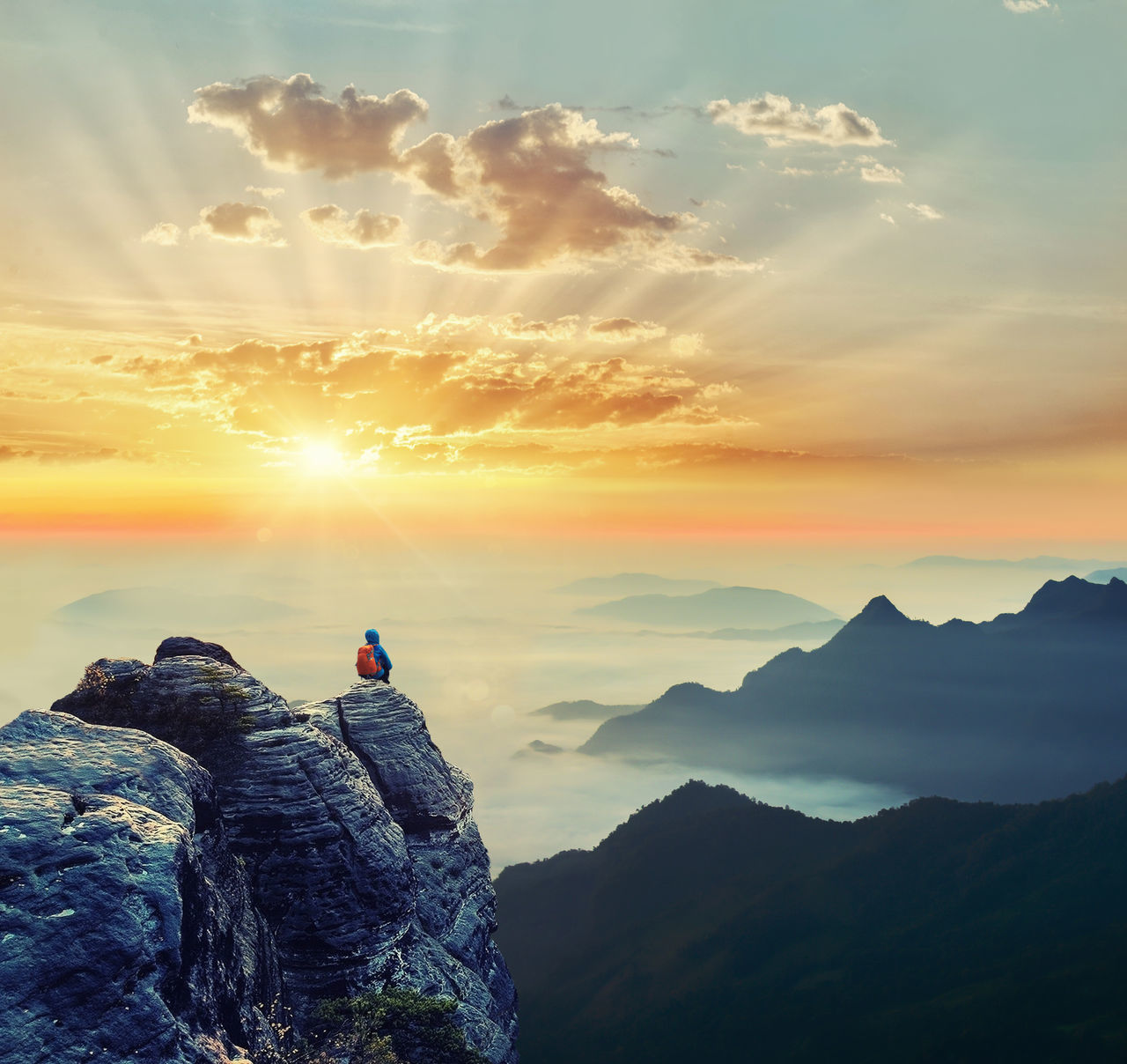 Adult Adults Only Adventure Awe Beauty In Nature Cloud - Sky Freshness High Up Independence Landscape Mountain Mountain Peak Nature One Man Only One Person Orange Color Outdoors People Scenics Sky Sun Sunbeam Sunlight Sunset Tranquility