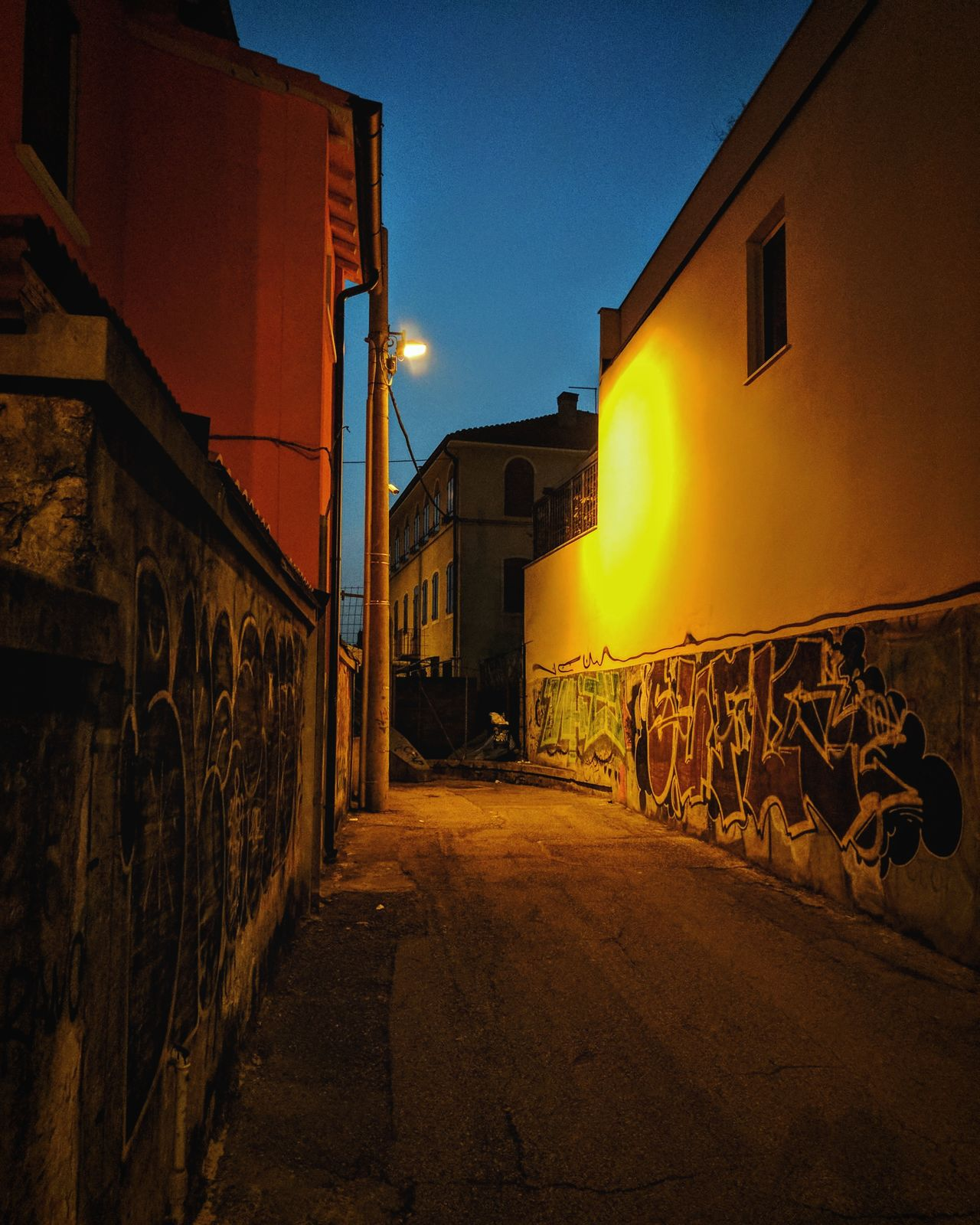Architecture Built Structure Building Exterior Sunset Sky City No People The Way Forward Outdoors Illuminated City Street Light Painting Night Graffiti
