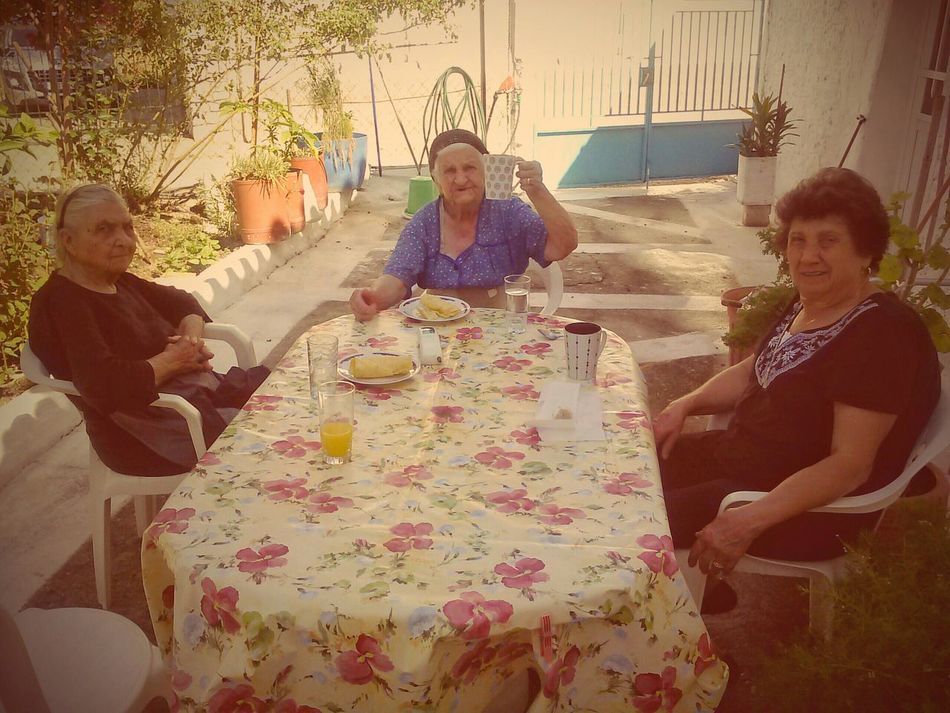 Coffee At Home with Yiayia The Old Country Women And Coffee In The Village Dafni, Greece Old-fashioned