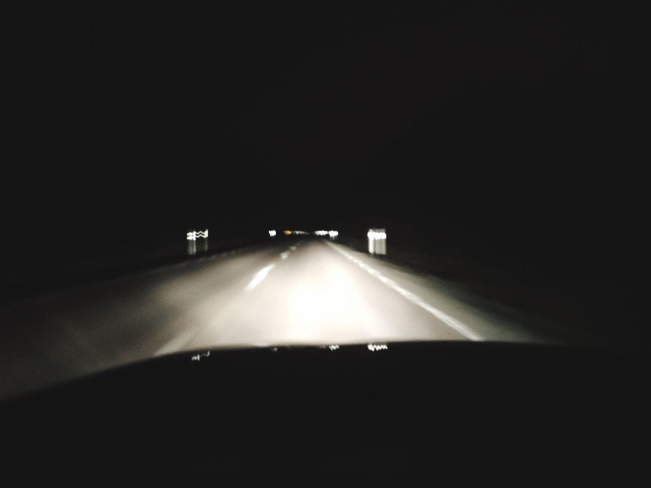 transportation, car, vehicle interior, dark, illuminated, car interior, windshield, car point of view, journey, night, land vehicle, mode of transport, no people, road