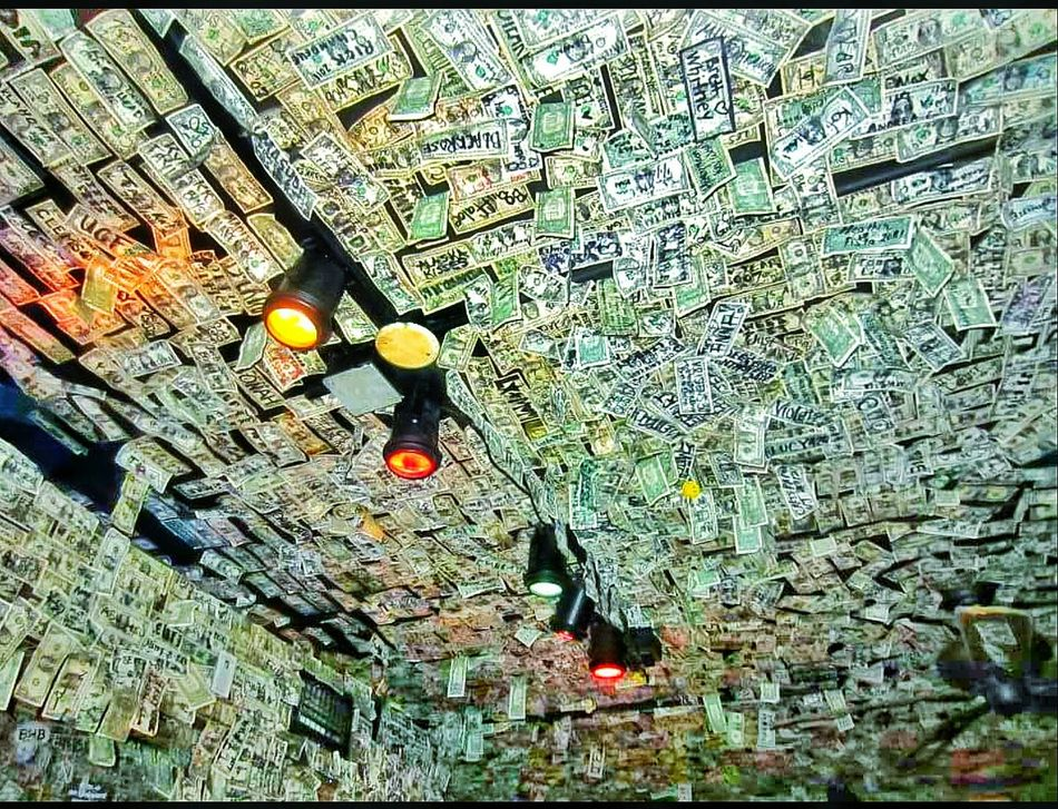 Money Cash Ceiling Ceiling Lights Bar Bar And Restaurant Bar And Lounge Art Artistic Expression Cool Scene Must See Destination Dollar Bills Dollars Looking Up Wasted Money Florida Tourist Attraction  Tourism Destination Places You Must To See Abstract Still Life Inside Indoors  Nightlife Darkness