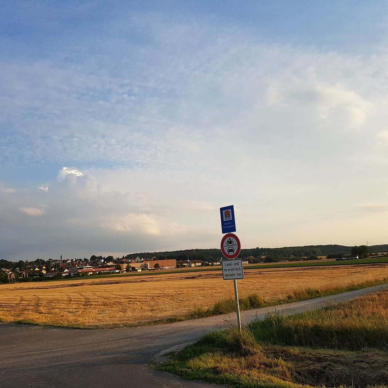 road sign, communication, speed limit sign, sky, cloud - sky, guidance, road, transportation, direction, day, no people, one way, outdoors, grass, scenics, nature, beauty in nature