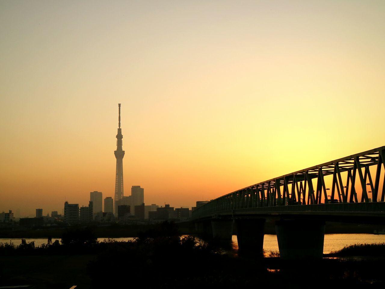 Sunset Silhouette Tower Cityscape Urban Skyline Sky Japan Tokyo Tokyoskytree Skytree Sunset_collection Foggy Bridge