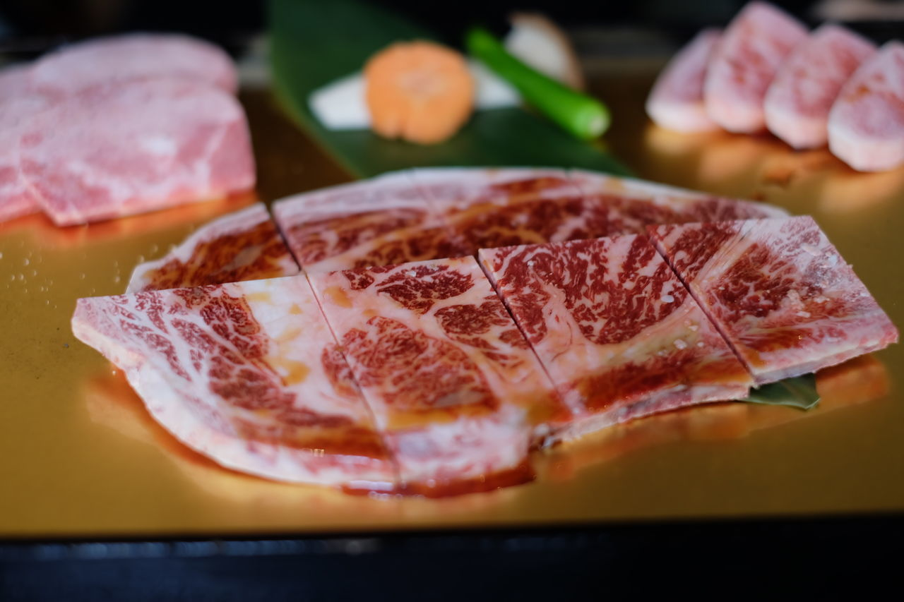 Super tender Japanese A5 Wagyu beef. Marbling on the meat is the art by itself. Bar Be Que BBQ Charcoal Close-up Delicious Fat Food Food And Drink Food And Drink Freshness Happy Eating Indoors  Japanese Food Marble Marble Beef No People Priceless Ready-to-eat SLICE Tenderness Tending To Crops Wagyu Wagyu A5 Wagyu Beef WOW