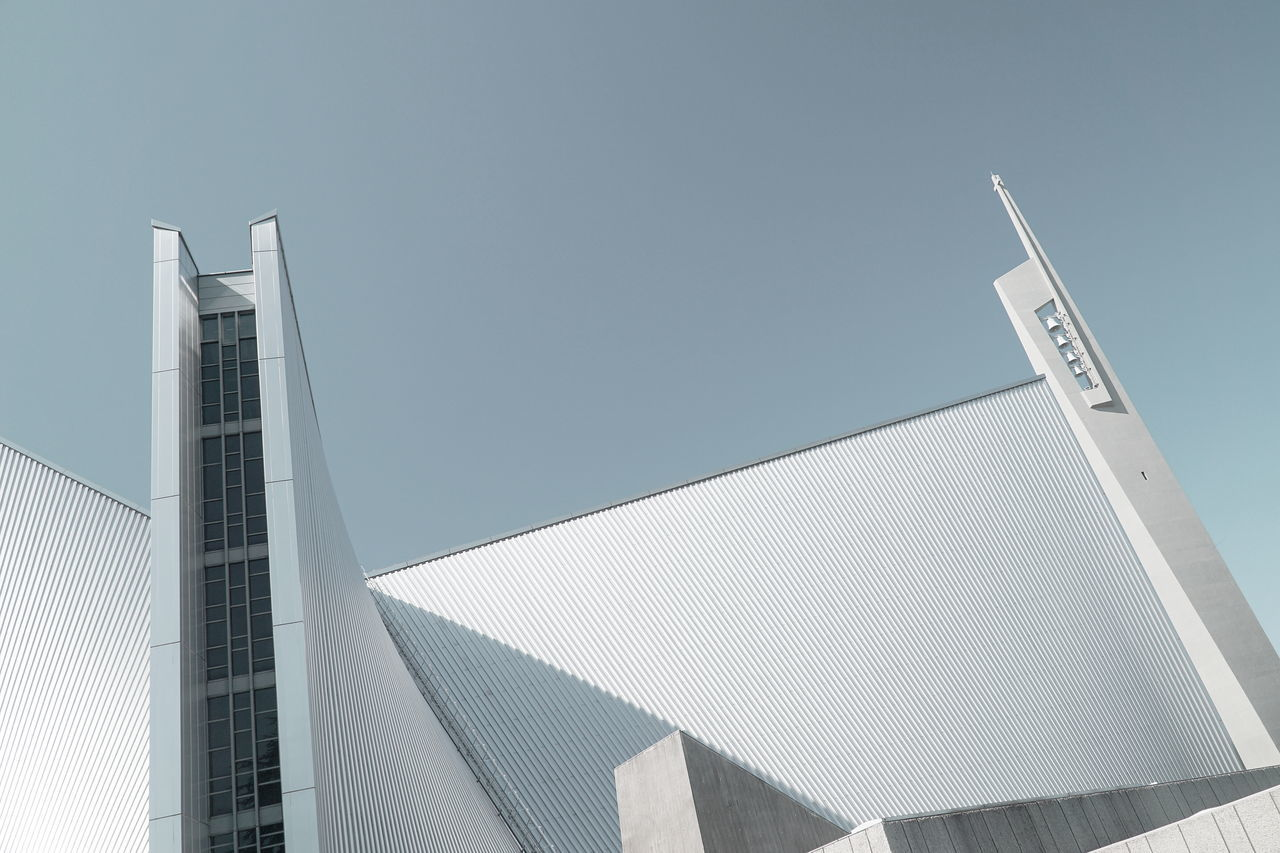 Geometry Clear Sky Church Façade Low Angle View KenzoTange Religion Simplicity Architecture Modern Architecture