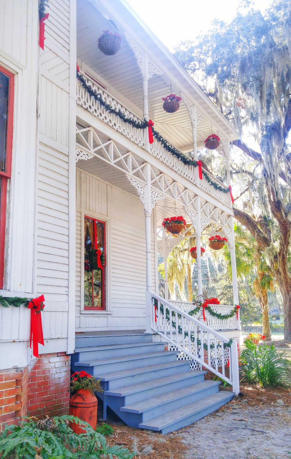 Built Structure Architecture Southern Living Baker House White Houses Historical History Porch Railing Porch Wood Porch Wooden House Architecture Christmas Decoration Southern Life Tradional Stairs Front Steps Florida