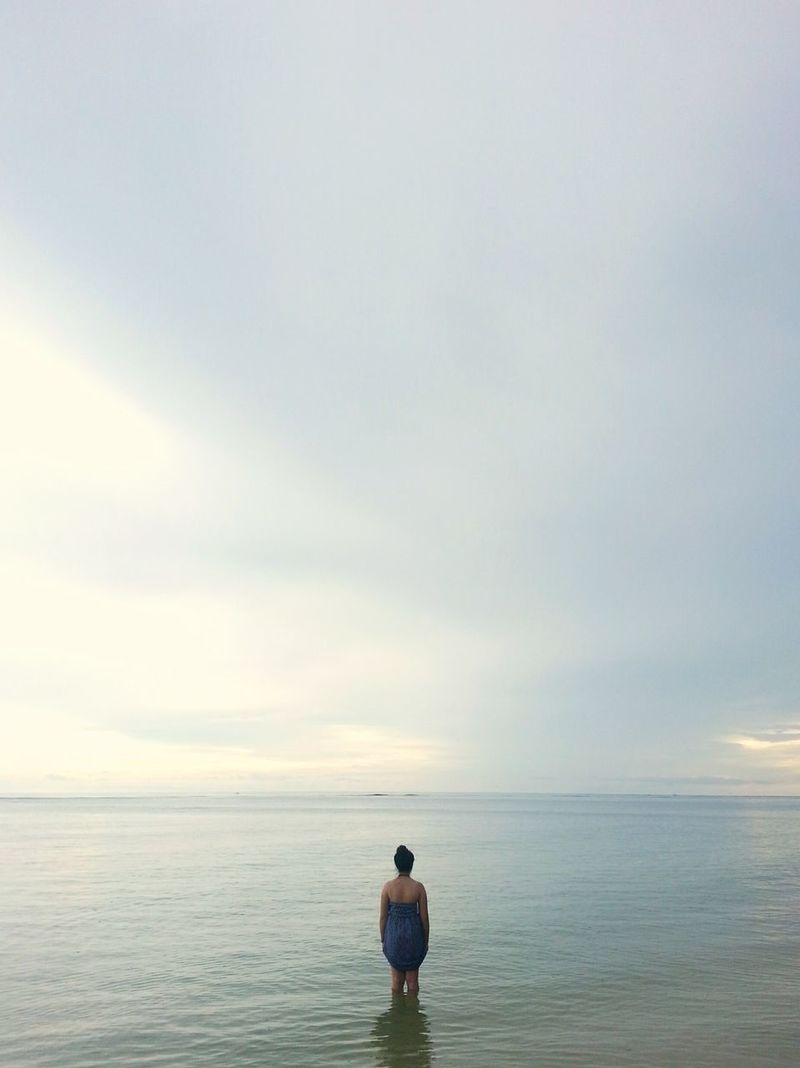 Sea Rear View Horizon Over Water Sky Tranquility Beach Sunset Tranquil Scene Standing Nature Outdoors Contemplation Let's Go. Together. The Philippine Islands The Philippines Philippines EyeEmNewHere Blue Blue Color Cloud - Sky Tranquility Nature Water Scenics One Person Sommergefühle