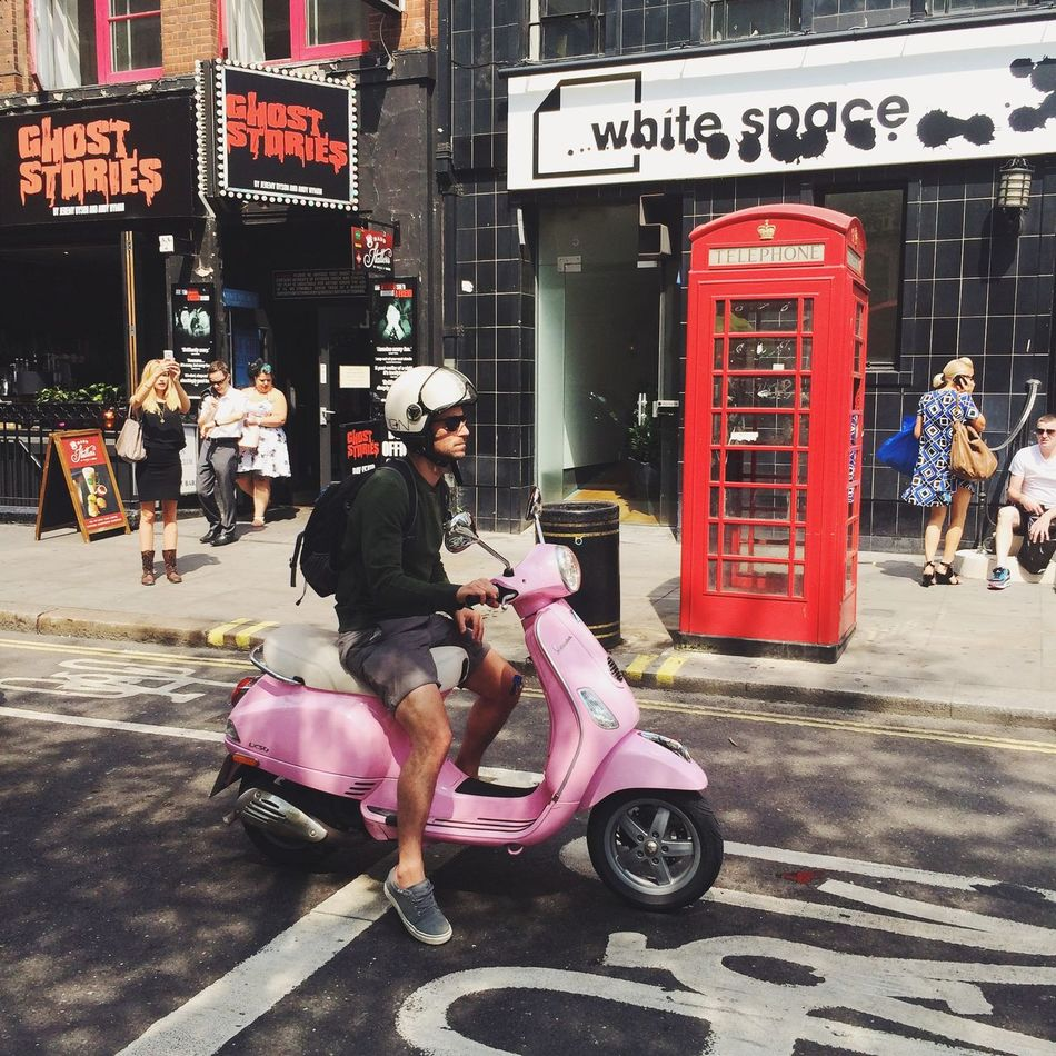 Pink Scooter Red Phonebox IPhoneography VSCO EyeEm Best Shots Taking Photos