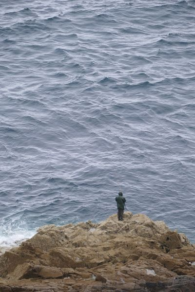Man Fishing Rocks Rocks And Water Rocks And Sea Sea One Person One Man Only Fort La Latte Brittany France Lost In The Landscape