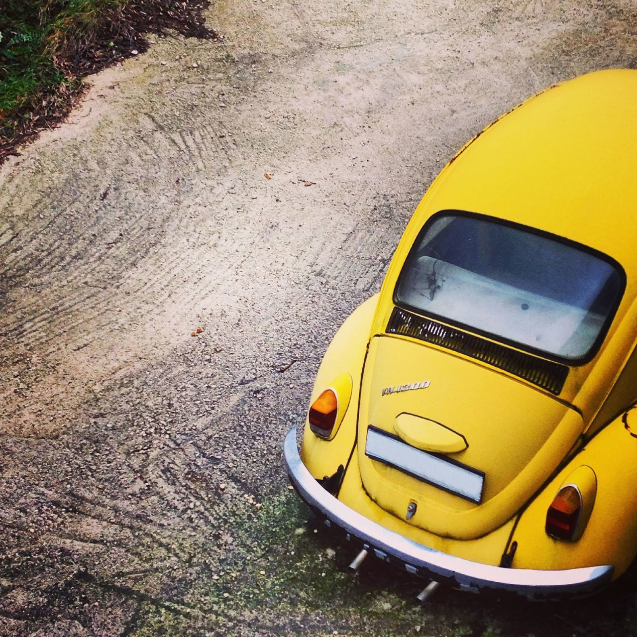 yellow, transportation, day, mode of transport, no people, high angle view, land vehicle, outdoors, car, close-up, nature
