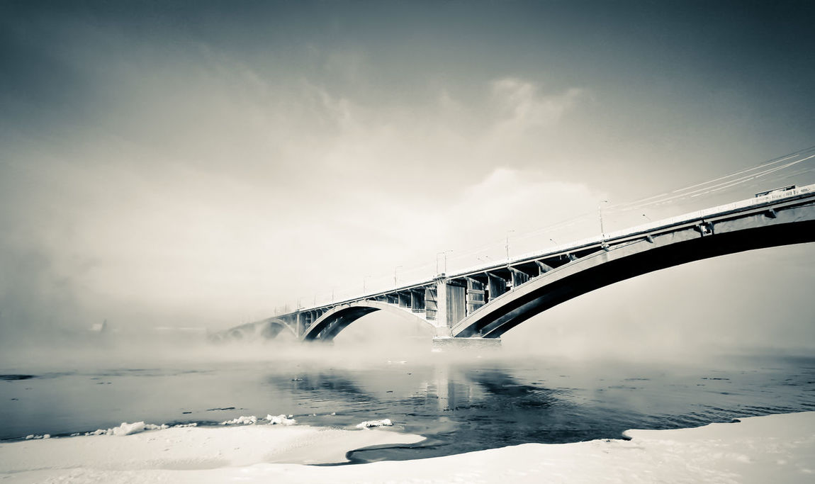 Bridge to Nowhere Architecture Bridge - Man Made Structure Built Structure Connection Engineering Monochrome Mystery No People Outdoors River Siberia The Architect - 2016 EyeEm Awards Travel Destinations Water Winter Yenisei River