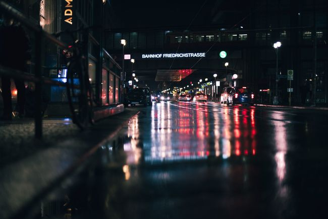 Rainy Friedrichstrasse . Berlin Reflections Lights Night Traffic Street City Colours Outdoors Moody Darkness And Light Streetphotography EyeEm Best Shots EyeEm EyeEmBestPics EyeEm Gallery Colorful